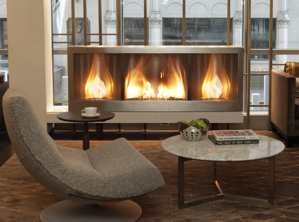 Custom HearthCabinet Ventless Fireplace, finished in stainless steel |Project by vldg