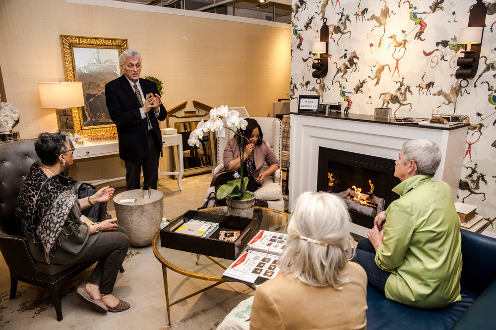 Arthur Lasky, RA, President & Chief Designer of HearthCabinet™ Ventless Fireplaces, demonstrating the product at Hines & Co showroom in the Washington Design Center Spring Market Day event (© 2017 Kaz Sasahara, www.lancerphotography.com | Instagram: kaz_tography)