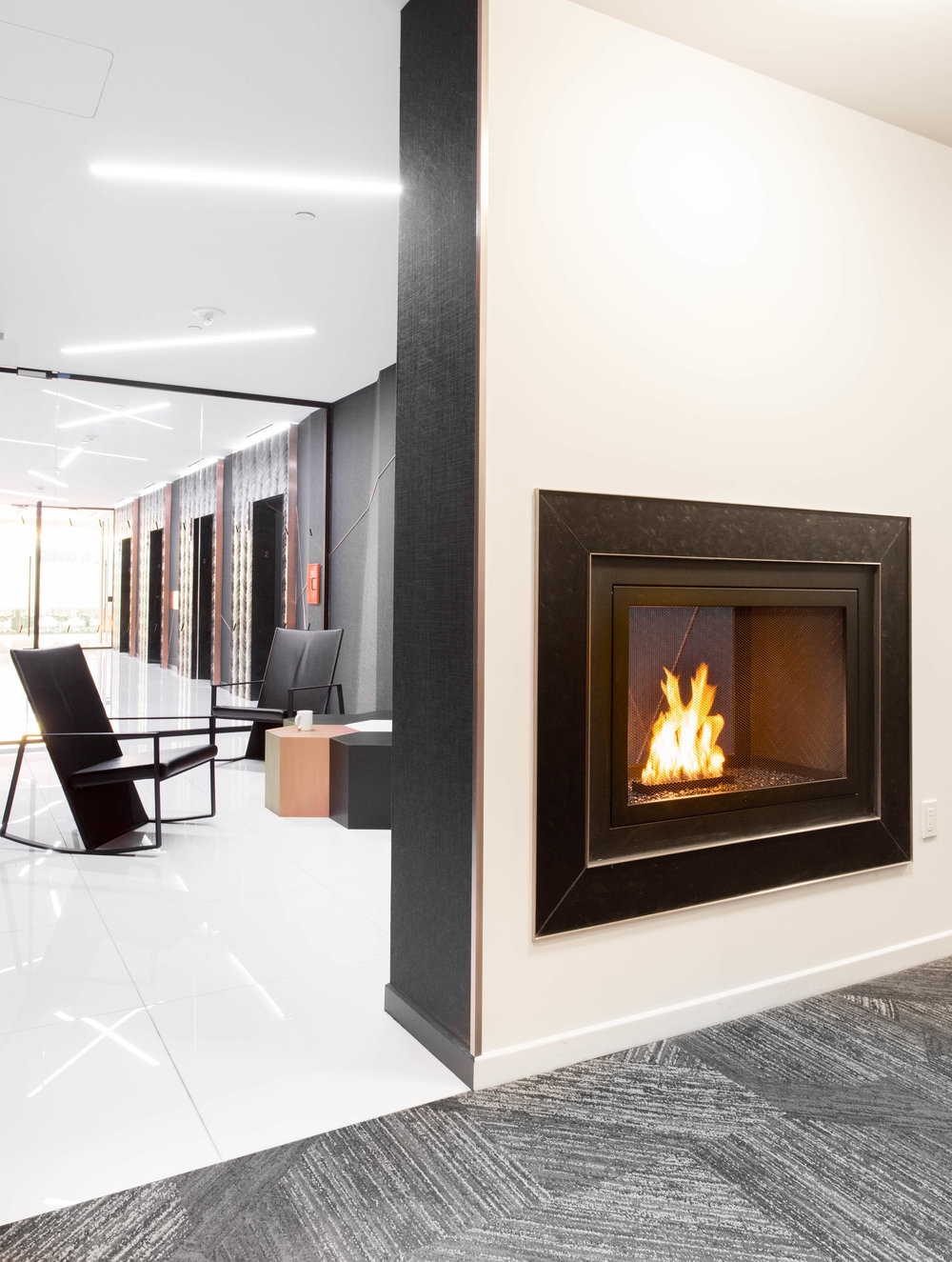 "Architect: LB Architects | Contractor: JE Fitzgerald | Ventless Fireplace:  2-Sided See-Through - Black Firebox with Custom Brass Detail - Model #702 - 42""W x 30""H x 18""D"