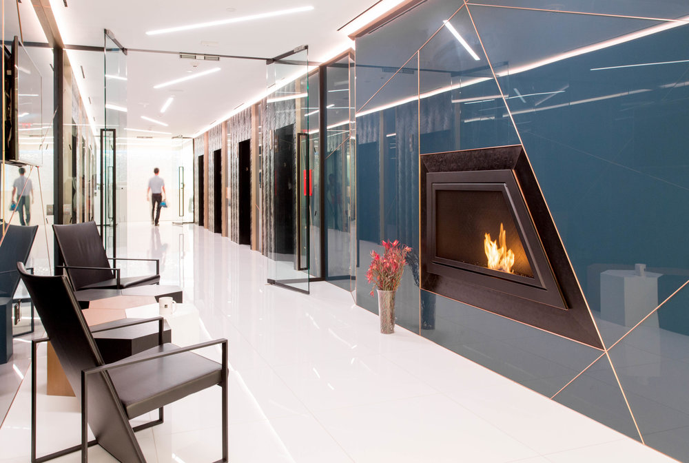 Architect: LB Architects | Contractor: JE Fitzgerald | Ventless Fireplace:  Custom Geometric - Black Powder Coated Steel