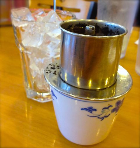 Traditional method of brewing Cafe Sua Da