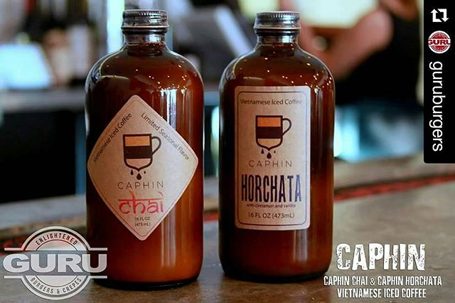 #Repost @guruburgers ・・・ Mondays are rough, but we have you covered. Come in and grab a bottle of Caphin. It's Vietnamese Ice Coffee that's made and bottled right here in Houston, Texas. #caphin #coffee #Vietnamese #vietnamesecoffee #SugarLand #Texas