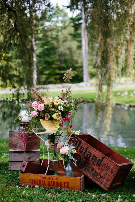 rustic wood boxes and flowers