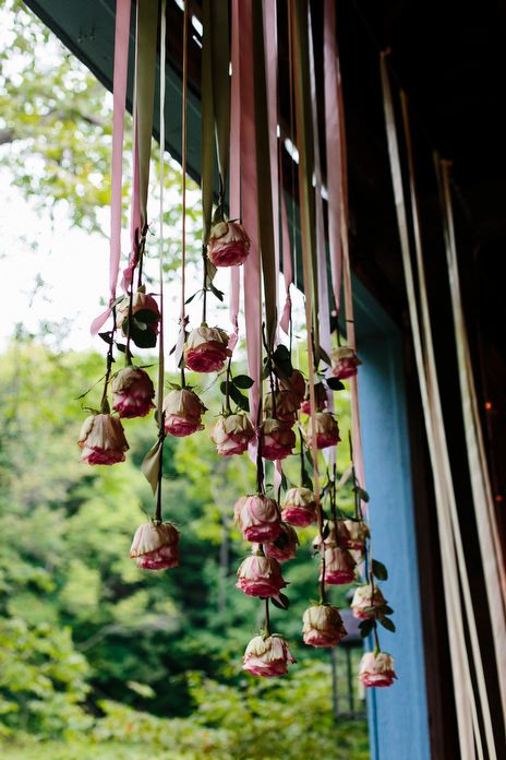 hanging roses in entrance