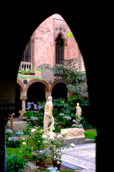 The inner courtyard of the Isabella Stewart Gardner Museum
