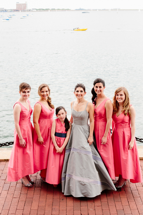 lavender wedding dress with pink bridesmaid dressed