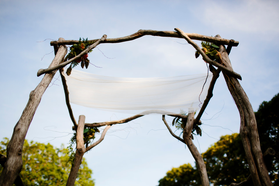 wedding day wood and fabric chuppah