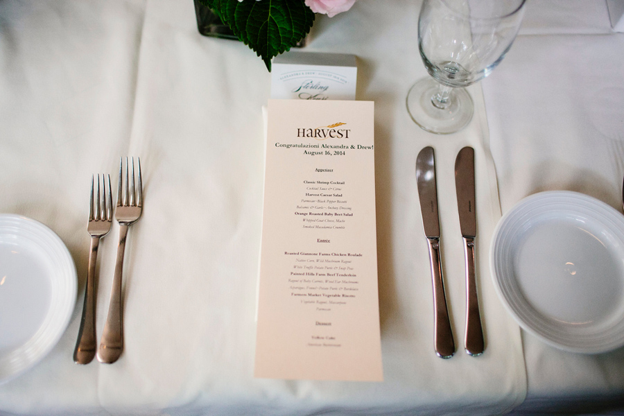 harvest menu restaurant wedding