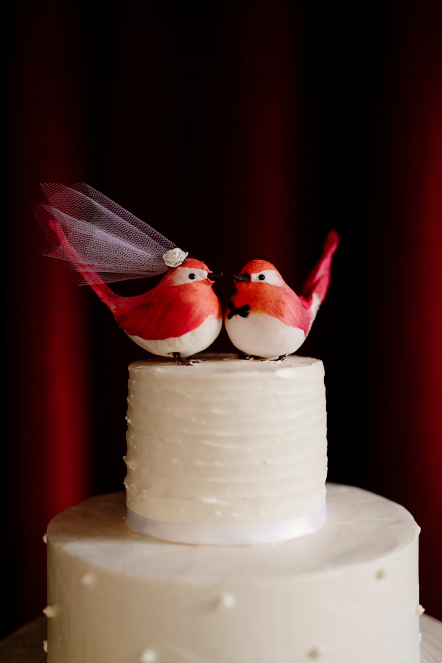 wedding cake and bird topper