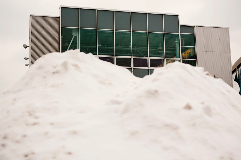 The snowy exterior of the Artists for Humanity building