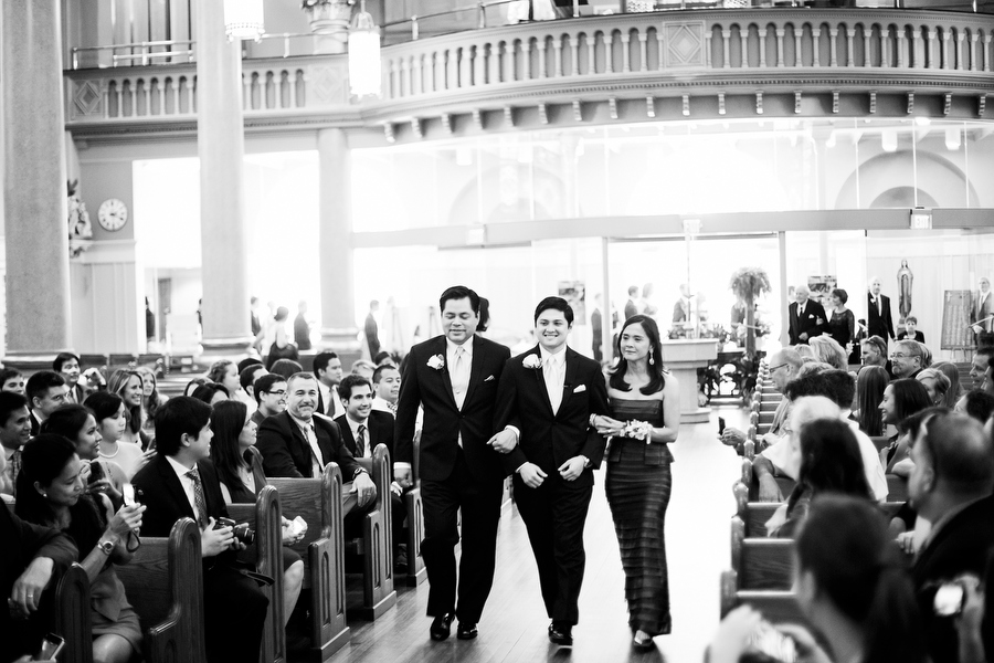 Groom walking down Aisle with Parents