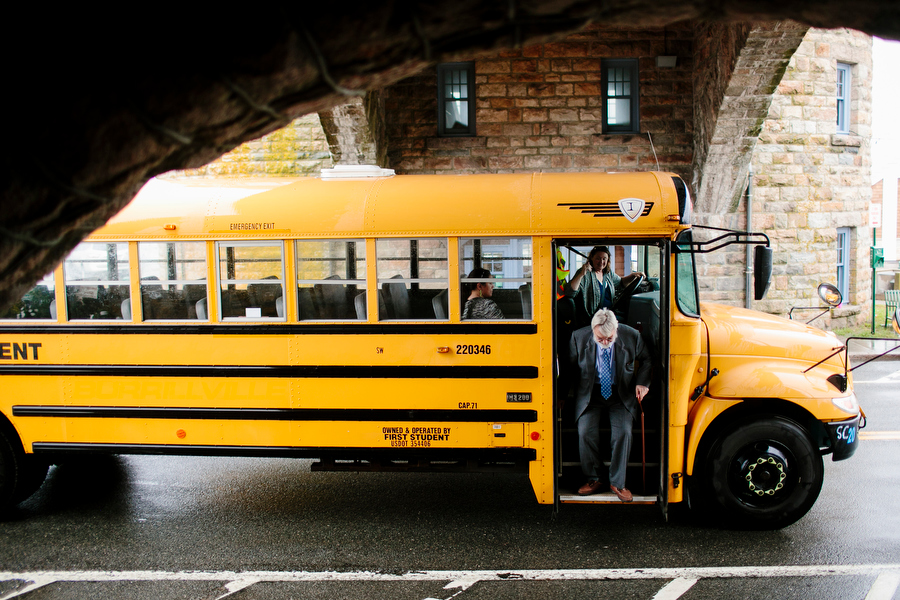 School Bus delivering guests