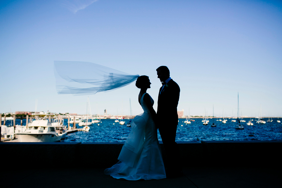 Bride and Groom Portrait on Waterfront of Boston