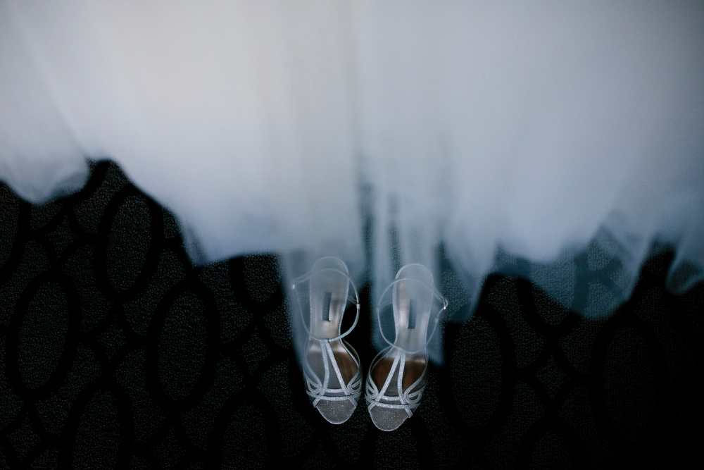 dress and shoes at intercontinental wedding