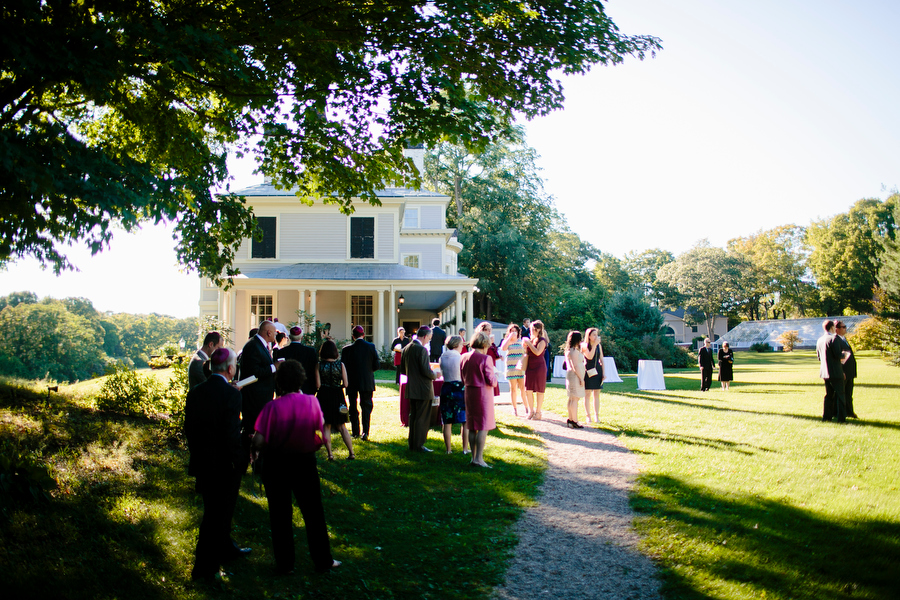 Exterior shot of lyman estate with guests