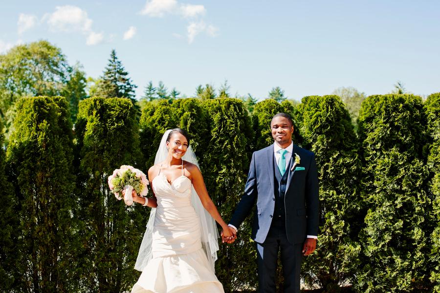 Bride and Groom wedding portrait outside the villa