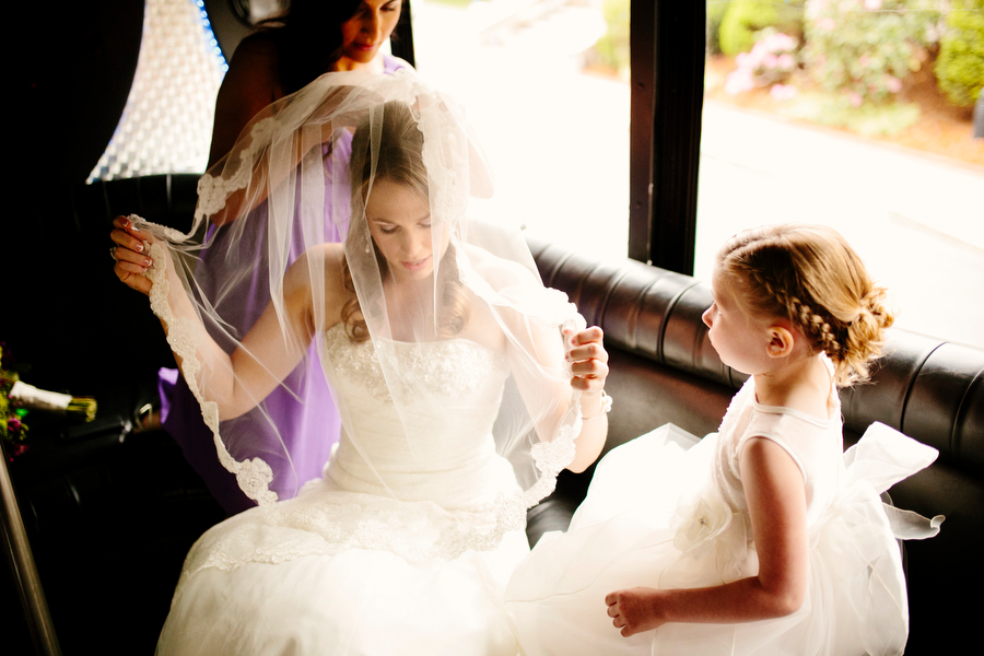 bride and veil at wedding