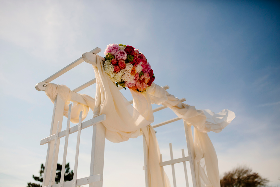 spruce point inn wedding arch