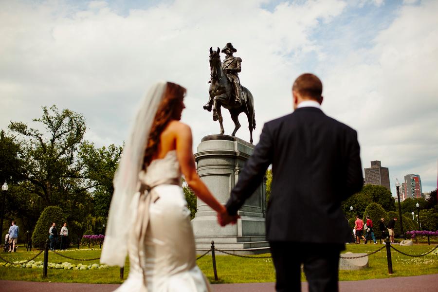 bride and groom walk boston public gardens