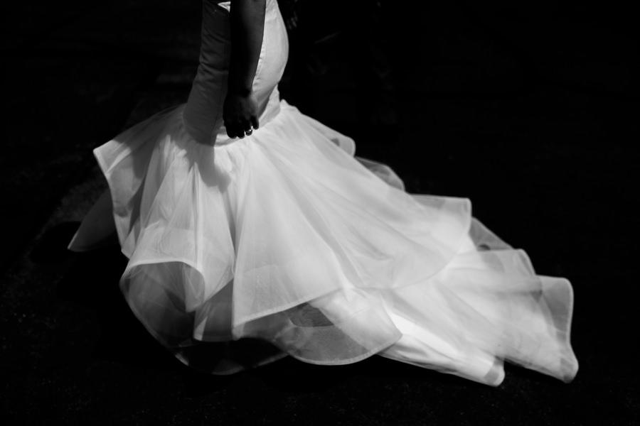 the brides wedding dress