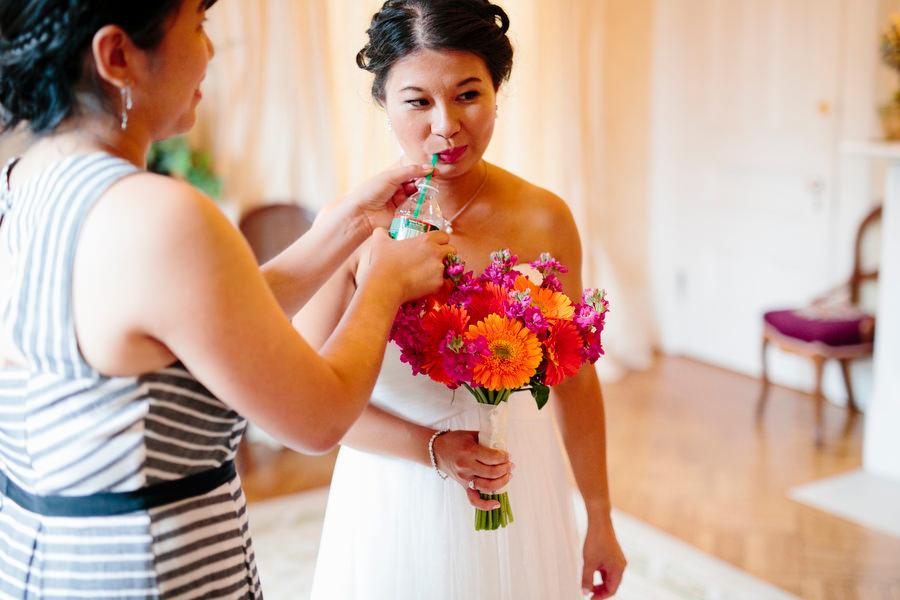 bride using straw