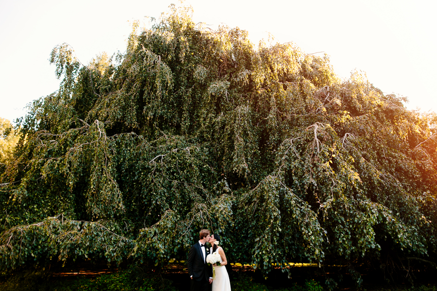 Bride and Groom in the gardens of Glen Magna Farms