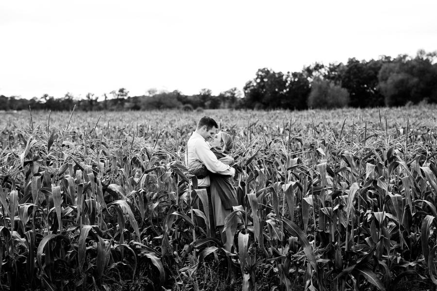 corn field engagement photo