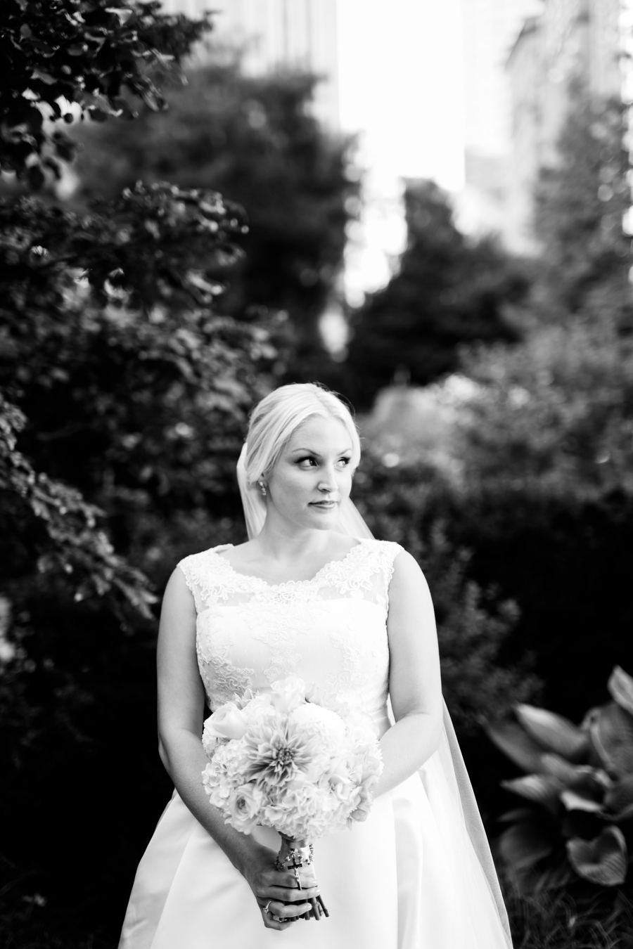 Post office square wedding portrait