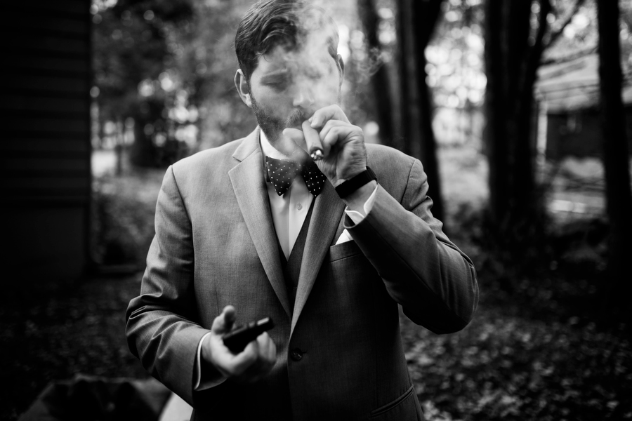 groom with cigar