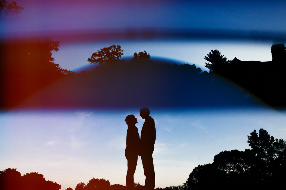outline of couple during engagement photography shoot in belmont and watertown, ma
