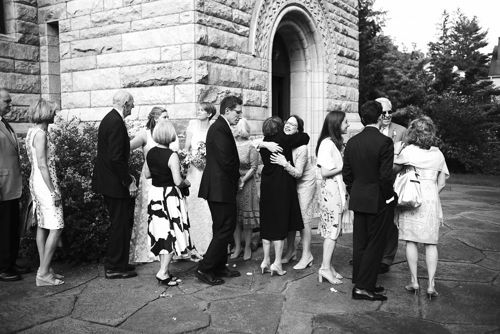 a receiving line outside of church in stockbridge in western massachusetts