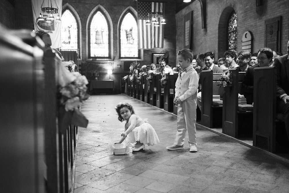 flower girl and ring bearer at church wedding in stockbridge in western massachusetts