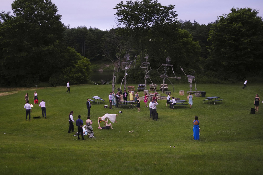 festivities at path of life sculpture garden wedding reception in windsor vermont