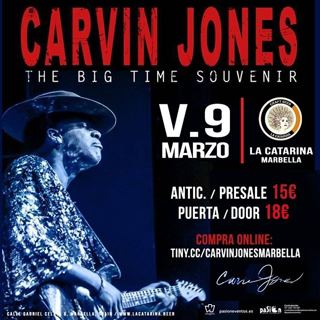 Llegó el gran día, la leyenda viva, CARVIN JONES tocará esta noche en La Catarina el que será su único concierto en la provincia de Málaga! Entradas a 15€ aún a la venta online en tiny.cc/carvinjonesmarbella 🎟 ------------------------------------------------------------------ Tonight is the night! The living legend CARVIN JONES will play in La Catarina his only show in the Malaga province! Tickets at 15€ still for sale in tiny.cc/carvinjonesmarbella 🎟