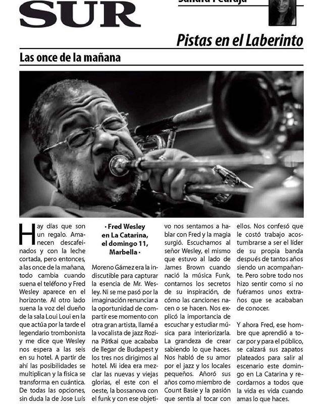 Muchas gracias @diariosur siempre apoyando, esta noche, la LEYENDA del funk, FRED WESLEY! 🎷❤️🏆