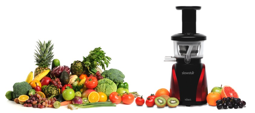 THE SLOWSTAR® VERTICAL SLOW JUICER AND MINCER HAS A LOW SPEED OF 47 RPM WITH A 200 WATT MOTOR AND 3-STAGE SPEED REDUCTION GEARS THAT PRODUCE THE EQUIVALENT AMOUNT OF TORQUE AS A 9 HP MOTOR. THE DUOBLADE™ DOUBLE-EDGED AUGER CREATES A DOUBLE CUT, DOING TWICE AS MUCH WORK COMPARED TO A TRADITIONAL AUGER. THE LOW SPEED PRESERVES THE FRESHNESS AND QUALITY OF YOUR JUICE DUE TO FRICTION AND HEAT. NOT ONLY CAN YOU JUICE WITH THE SLOWSTAR®, YOU CAN TURN IT INTO A MULTI-PURPOSE TOOL, JUST REPLACE THE TOP OF THE MACHINE WITH THE MINCING ATTACHMENT TO START MINCING YOUR INGREDIENTS TO USE IN YOUR FAVORITE RECIPES, AND LAST BUT NOT LEAST - ALL THIS WITH 10YEARS WARRANTY!