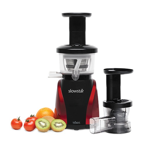 THE SLOWSTAR VERTICAL SLOW JUICER AND MINCER HAS A LOW SPEED OF 47 RPM MOTOR. THE DUOBLADE™ DOUBLE-EDGED AUGER CREATES A DOUBLE CUT, DOING TWICE AS MUCH WORK COMPARED TO A TRADITIONAL AUGER. THE LOW SPEED PRESERVES THE FRESHNESS AND QUALITY OF YOUR JUICE DUE TO FRICTION AND HEAT.PLUS, YOU CANT BEAT10 YEAR WARRANTY!