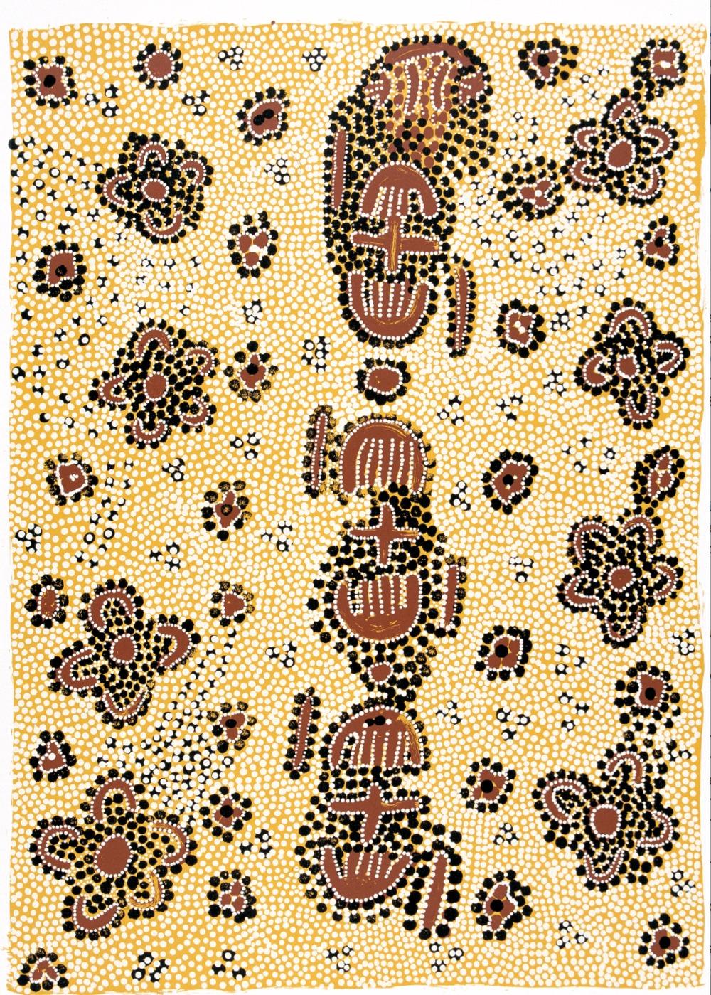 Molly Tasman Napurrurla, Warlpiri, 2003, Marrkirdi Jukurrpa, ('Wild Bush Plum Dreaming'), on Magnani Pescia paper, image size 490x320 mm.