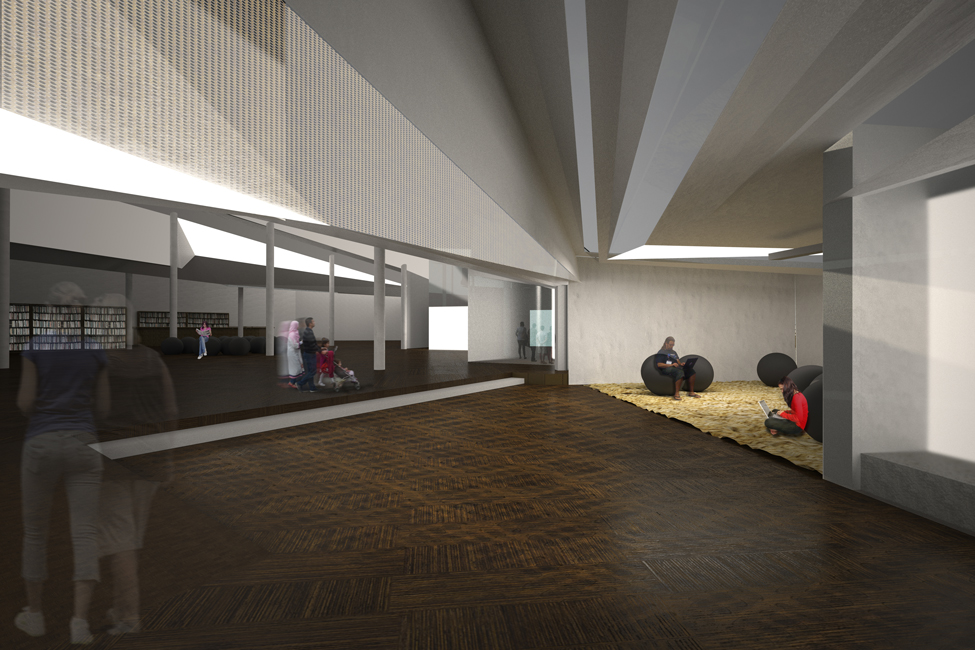Perspective // Threshold between the Research Wing and Resource Wing