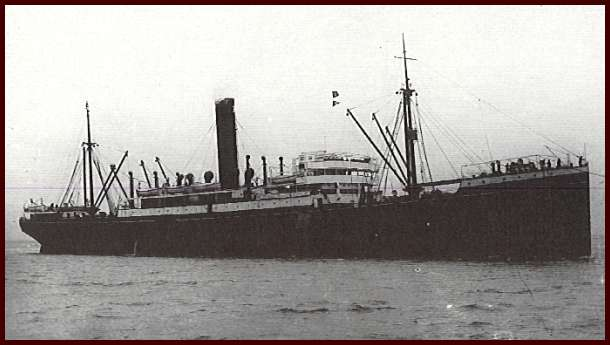 The  Pakeha  steam ship on route to New Zealand in 1922. A 7,899 tons ship, built by Harland and Wolff, Belfast in 1910 for Shaw Savill & Albion Line. Used on the UK - Wellington service. In 1939 it was sold to the Admiralty and converted into an imitation of the battleship HMS Revenge. In 1941 it reverted to a cargo ship for the Ministry of War Transport and renamed Empire Pakeha. In 1945 it was hired by the Ministry of Food as a meat store ship. In 1946 it was repurchased by Shaw Savill & Albion and reverted to Pakeha. In 1950 it was scrapped at Briton Ferry.