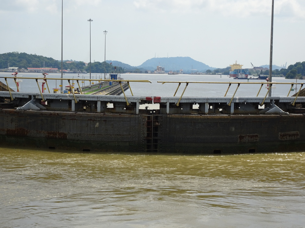 Transit through Canal from Panama Miraflores Locks - November 2015