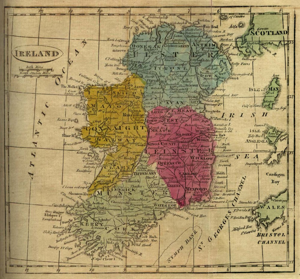 Ireland - old map 1808. The four historic regions, Ulster (blue), Leinster, Connaught, Munster