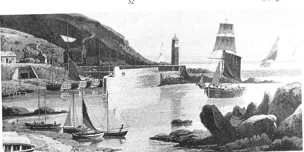 Port Patrick - Scotland , Donaghadee's sister Port. The presence of cutters suggests this view predates 1825