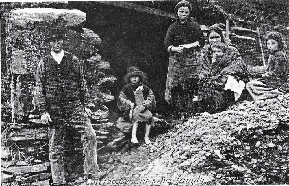 A typical post - Irish potato famine eviction scene in rural areas in the 1850's.  After the worst of the famine had passed, it was common to see families camped out in the ruins of their house. Between 1849-1854,  250,000 - 500,000 mainly rural people, were forced from their homes usually for rent arrears. The fortunate emigrated to America or elsewhere and the less fortunate the 'workhouse'.