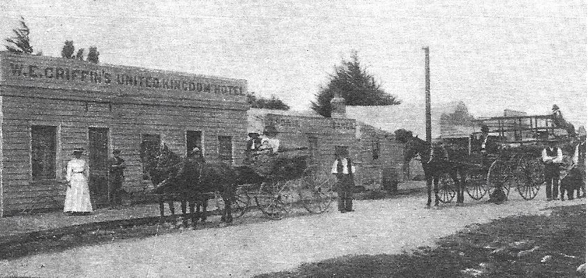 Main Street Macraes Flat, Otago, New Zealand, circa 1900
