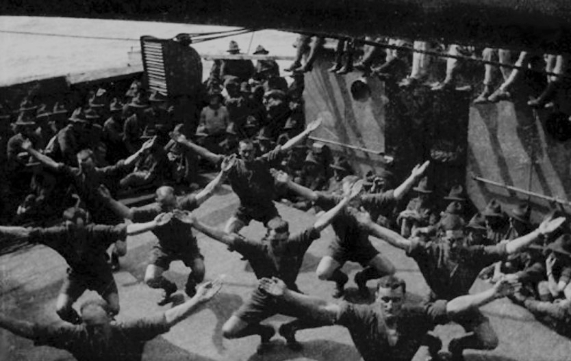 RMS Ruapehu , troopers exercising on deck.
