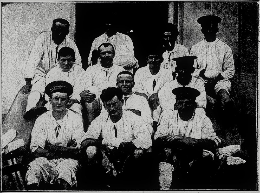 James Harcus, second row from back, second on left. Gun shot wound right foot, seen here convalescing in hospital in Cairo 1915.  Otago Witness Newspaper, 28 July 1915.