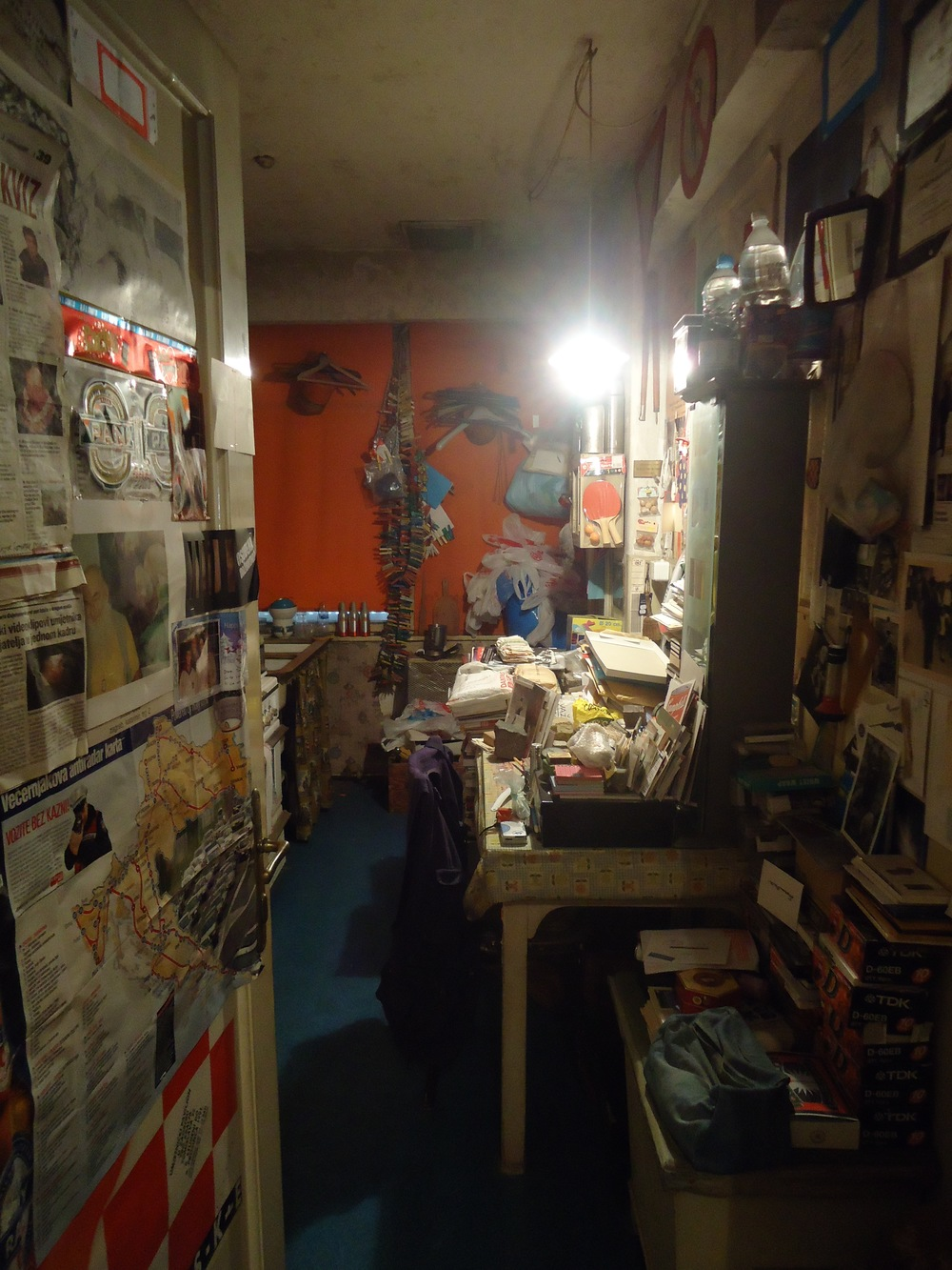 Gotovac's kitchen, left exactly as it was when he died...with all of the ephemera of daily life that he collected, and that surrounded him