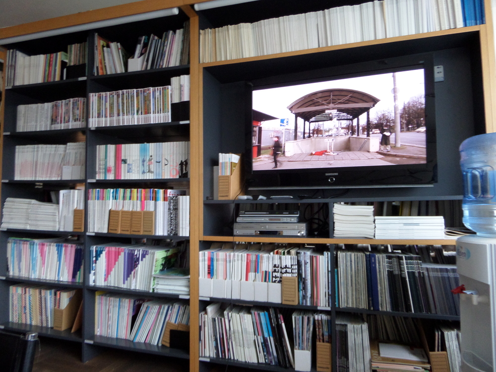 Watching videos at the Centre for Contemporary Arts in Tallinn