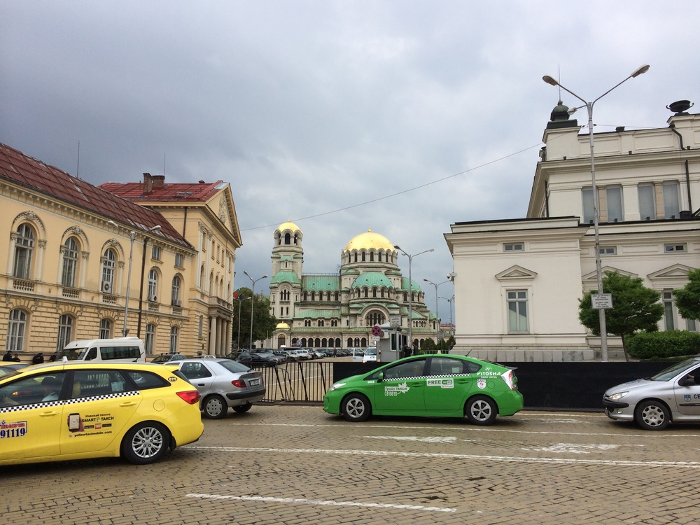 Downtown Sofia, Alexander Nevsky Cathedral in the distance